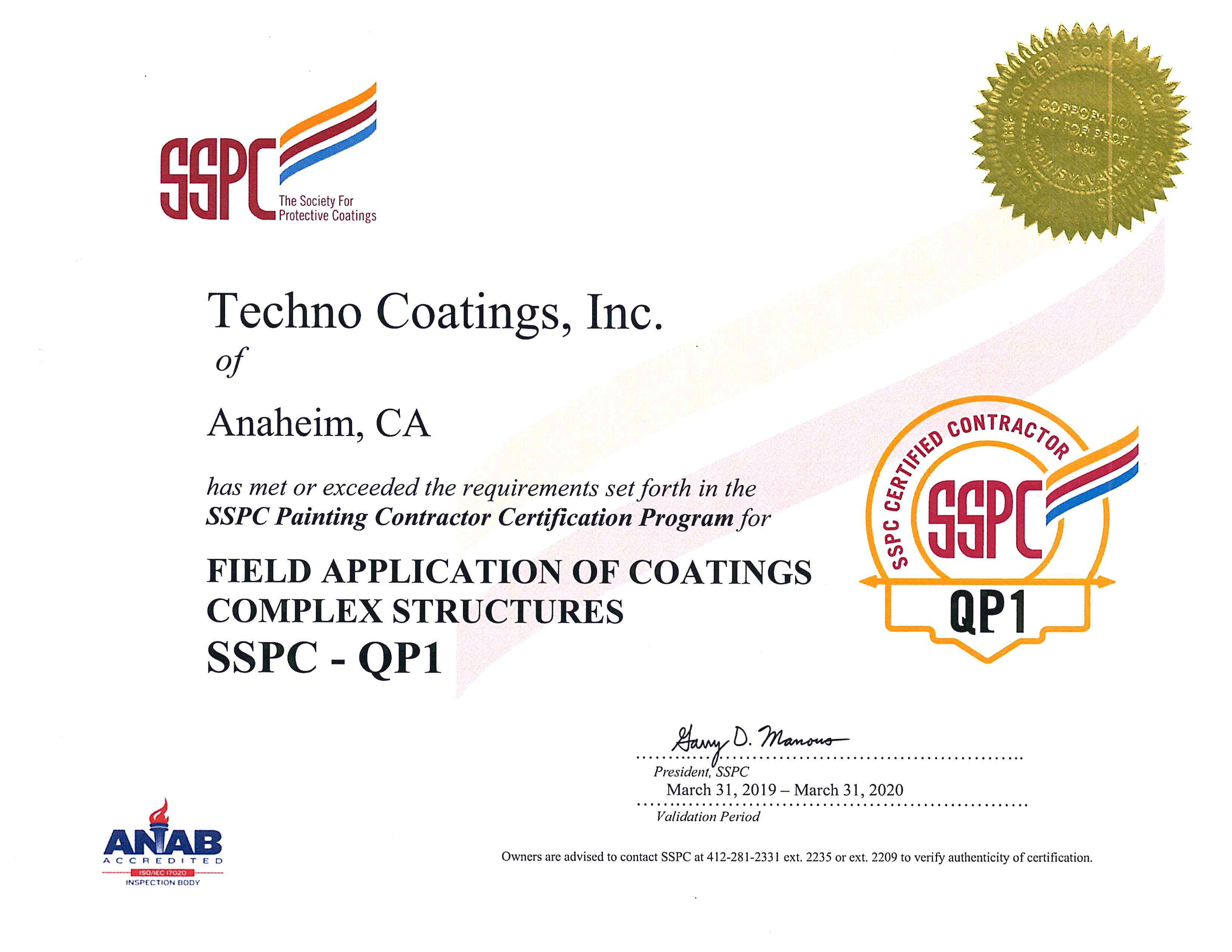 Techno Coatings SSPC QP1
